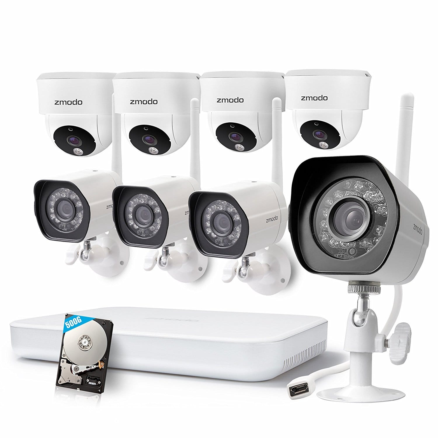 8pack Wireless 720p Outdoor/Indoor Security Cameras System + 1080p HDMI NVR + 500GB HDD for $220