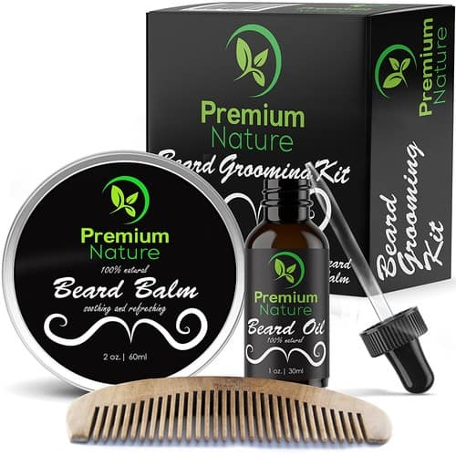 Beard Grooming Kit Gift for Him -  Soften Soothe and Moisturize Skin/Hair - Castor Jojoba Almond and More Essential Oils - $14.99 AC