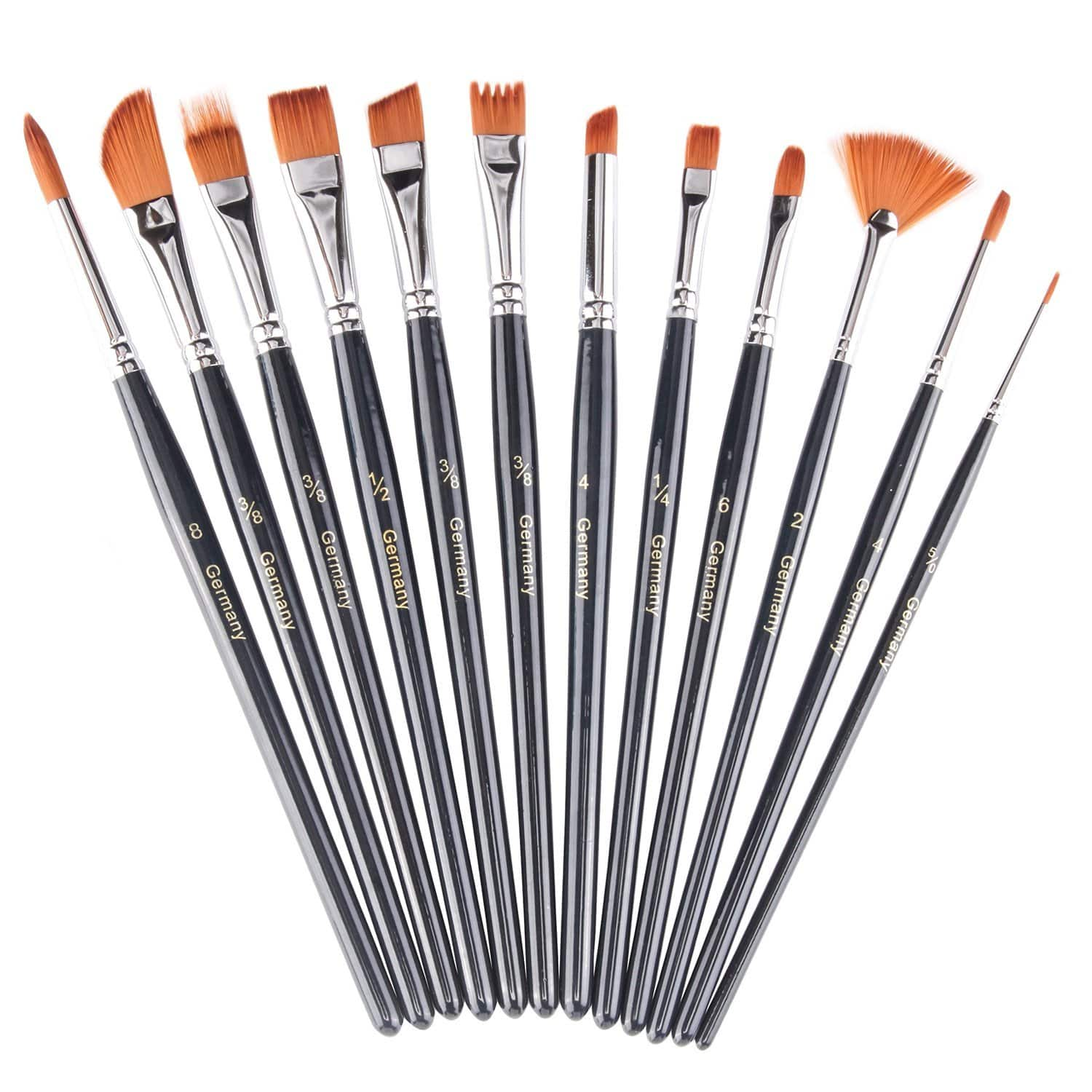 12 Pieces Set Of Nylon Hair Artist Acrylic Paint Brushes for ONLY $3.99