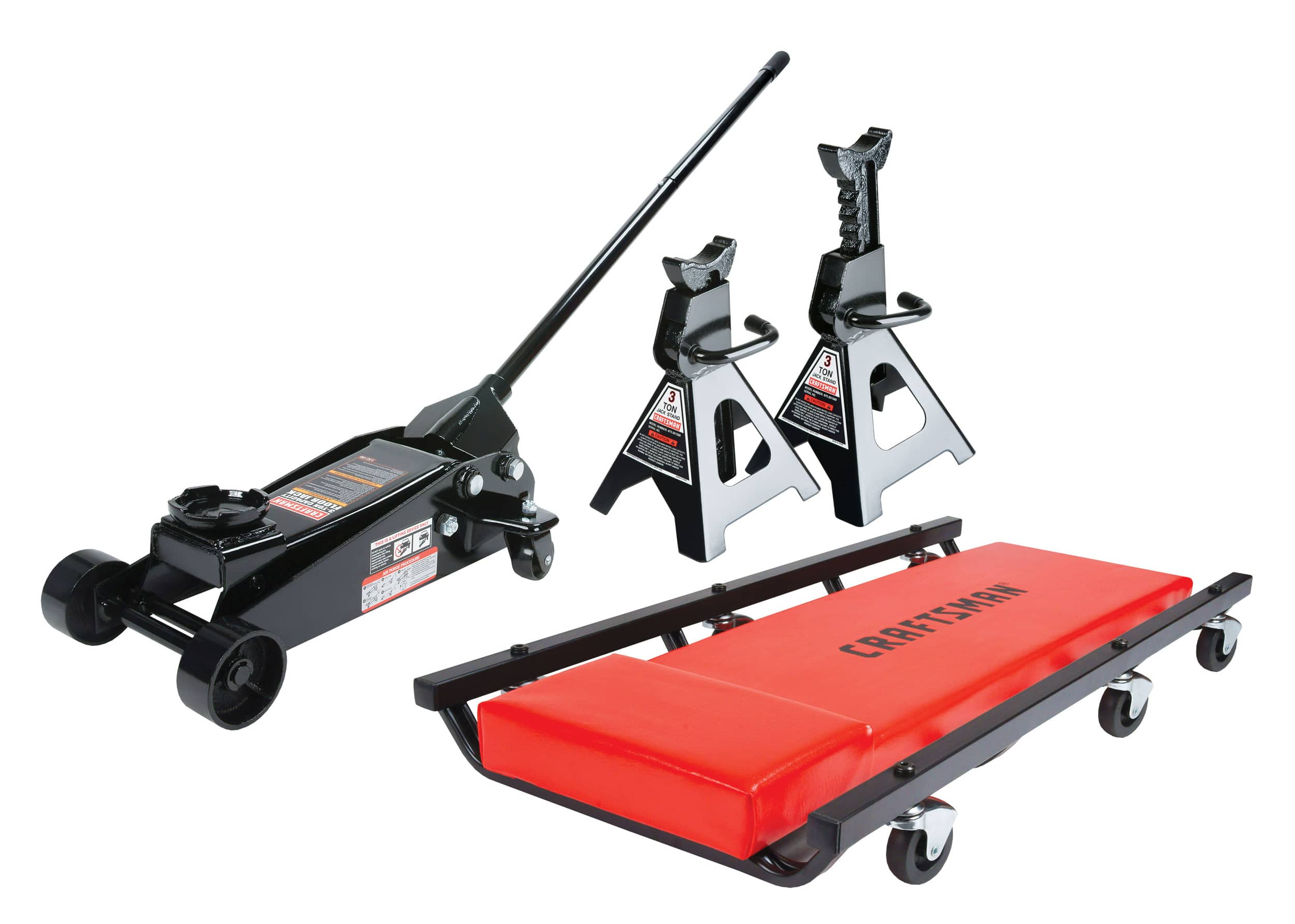 Craftsman 3 ton floor jack with jack stands and creeper set for $84.99, 2 1/4 ton floor jack set with jack stands for $47.47, 3-ton stands $20.16