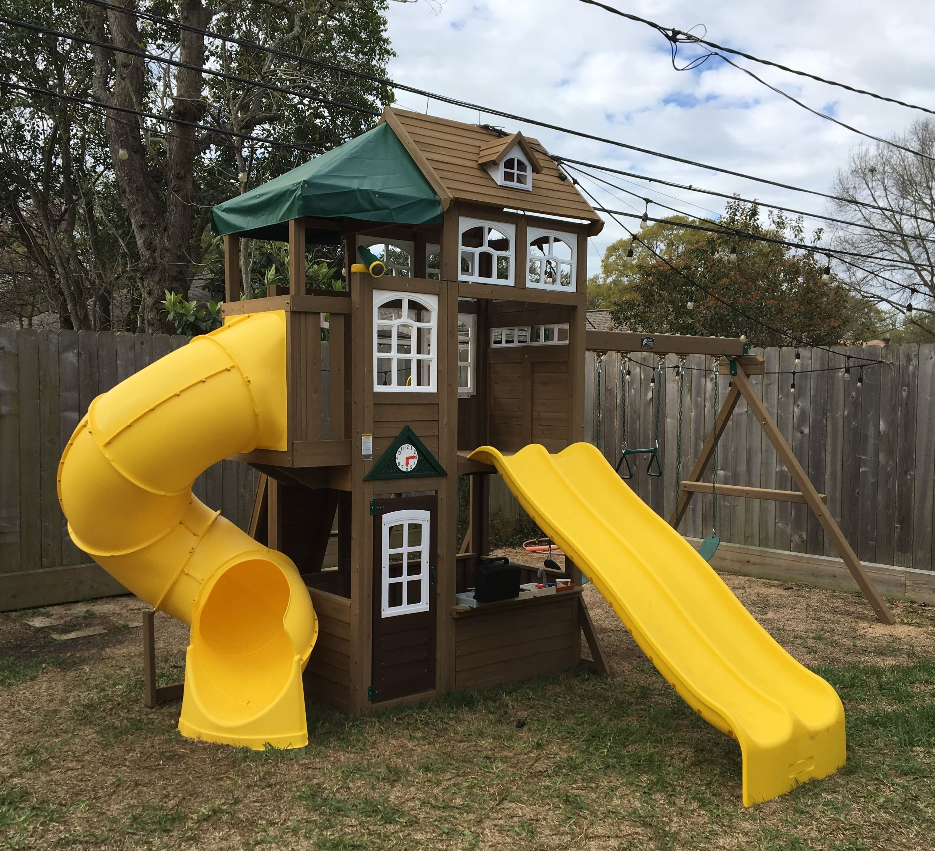 Cedar Summit Lookout Lodge 3 Slide Cedar Playset Do It Yourself
