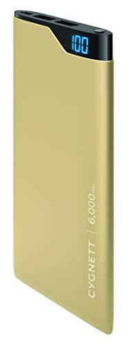 Cygnett - ChargeUp Digital 6000 mAh Portable Charger for Most USB-Enabled Devices - Gold Metallic $11.8