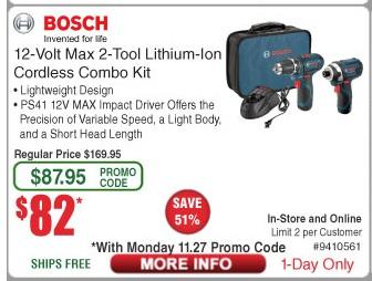 Bosch CLPK22-120 12volt Max Combo $82