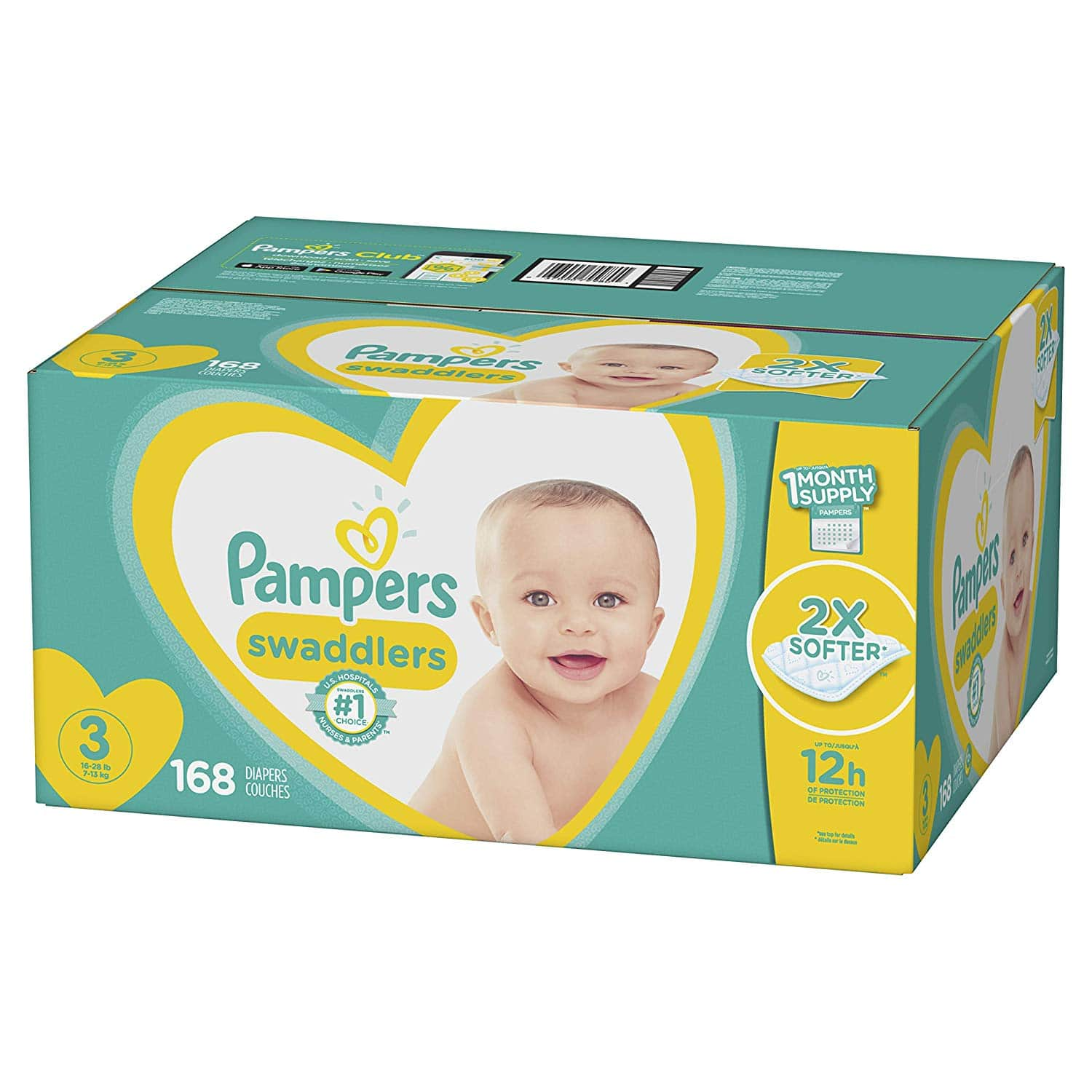 Amazon S&S Diapers Size 3, 168 Count - Pampers Swaddlers $25.70 YMMV