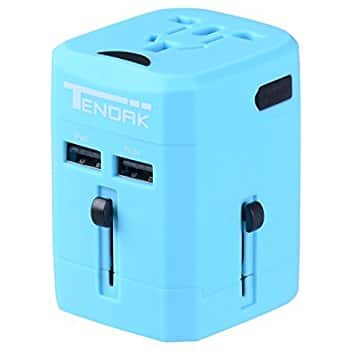 $9.99 Tendak International Travel Adapter with 2 Port USB Wall Charger