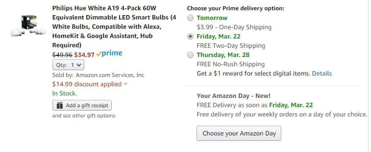 Philips Hue 30% off Amazon coupon, BR30 $28, Go $56, 4 pack of white $35, etc YYMV
