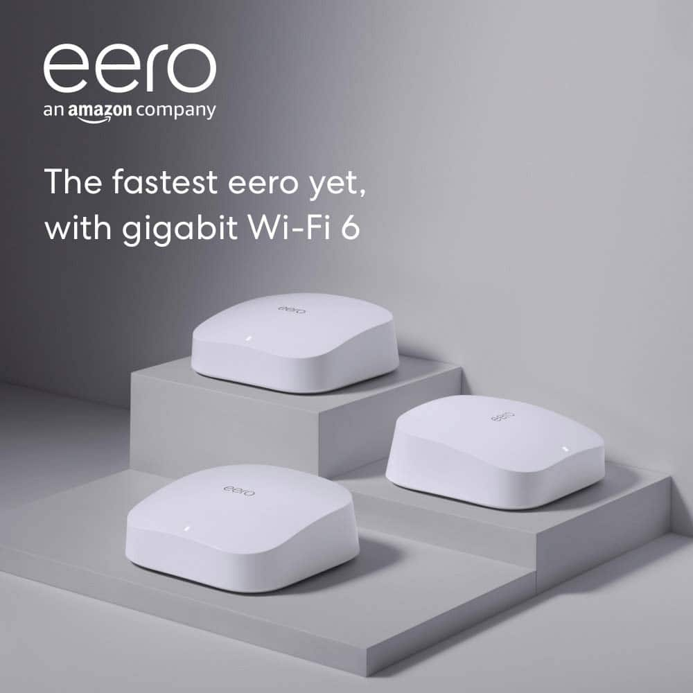 LIVE NOW on Amazon! Eero Pro 6 Mesh Router 3 pack $479 or $383.20 with trade-in