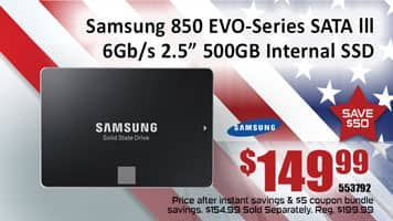 Samsung 850 EVO-Series 500GB SATA III $155, possible $150 at Microcenter (In store only)