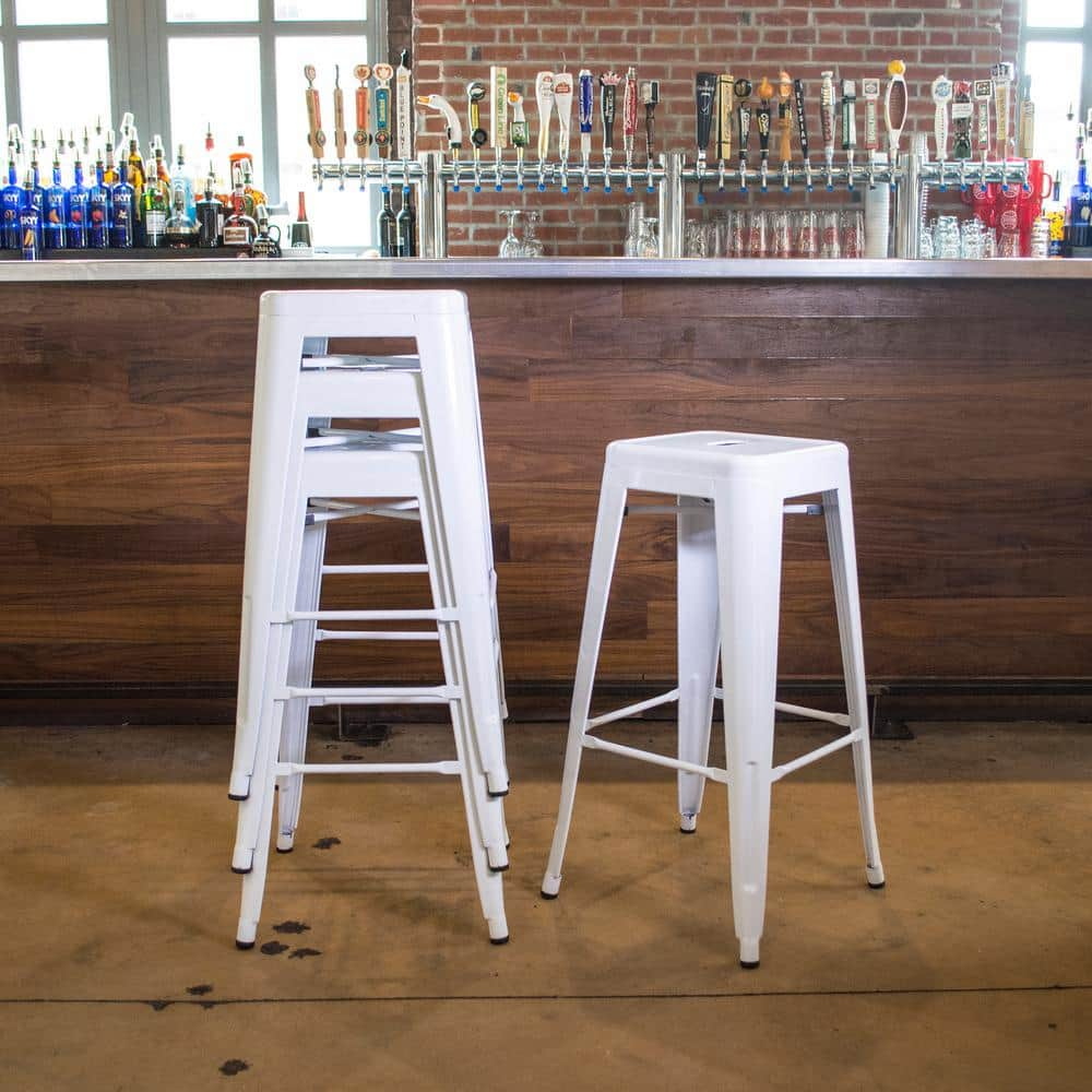 Set of 4 Loft Style 30 in. Stackable Metal Bar Stools (Various Colors) $99 + Free Shipping @ Home Depot