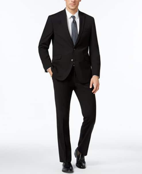 Kenneth Cole Reaction Men's Slim-Fit Black Tonal-Stripe Suit $83 + FS @ Macy's $83.36