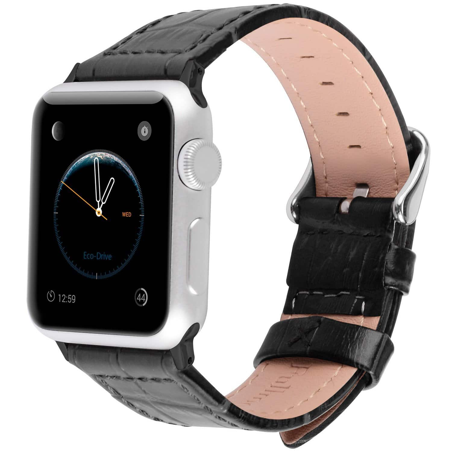 Apple Watch Black or Brown Leather Replacement Bands (38 & 42mm) $6.99 @ Amazon