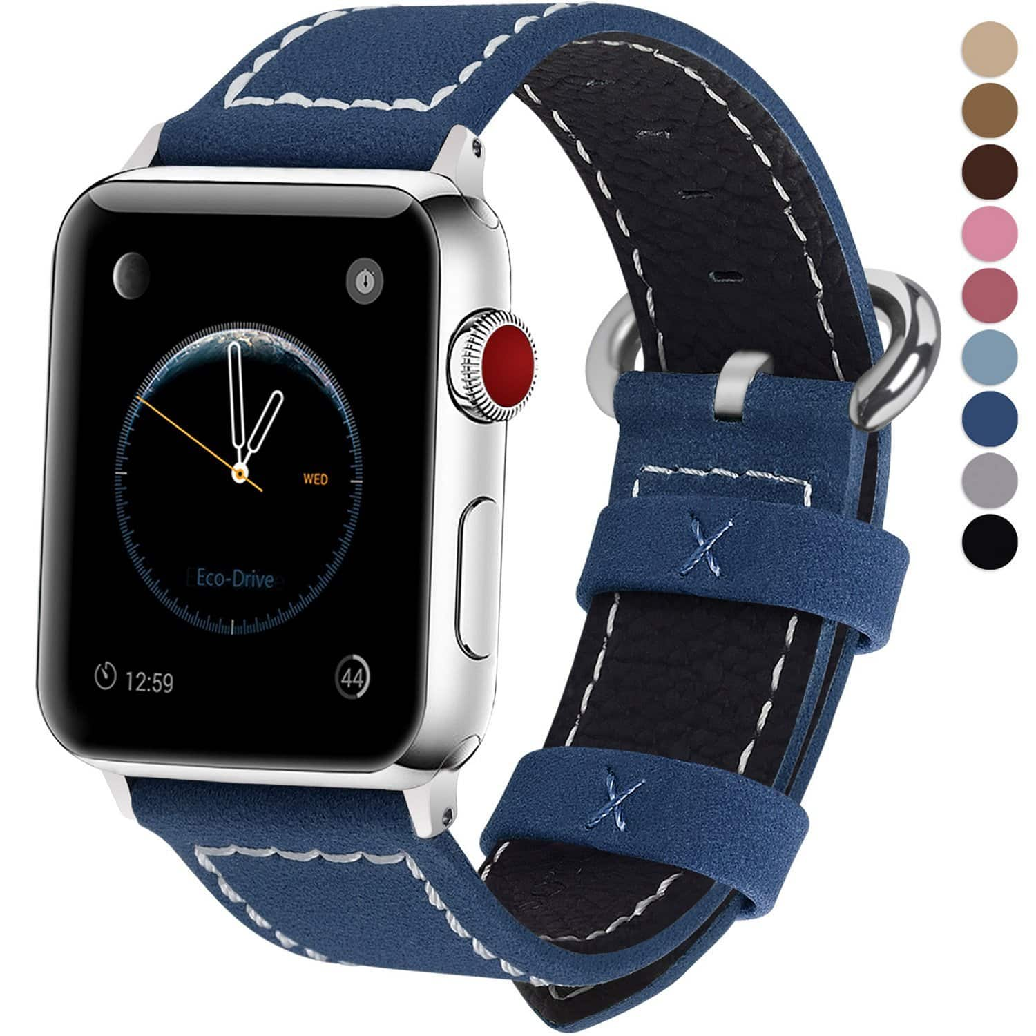 Apple Watch Leather Replacement Bands 38 & 42 mm in 7 colors $6.08 @ Amazon