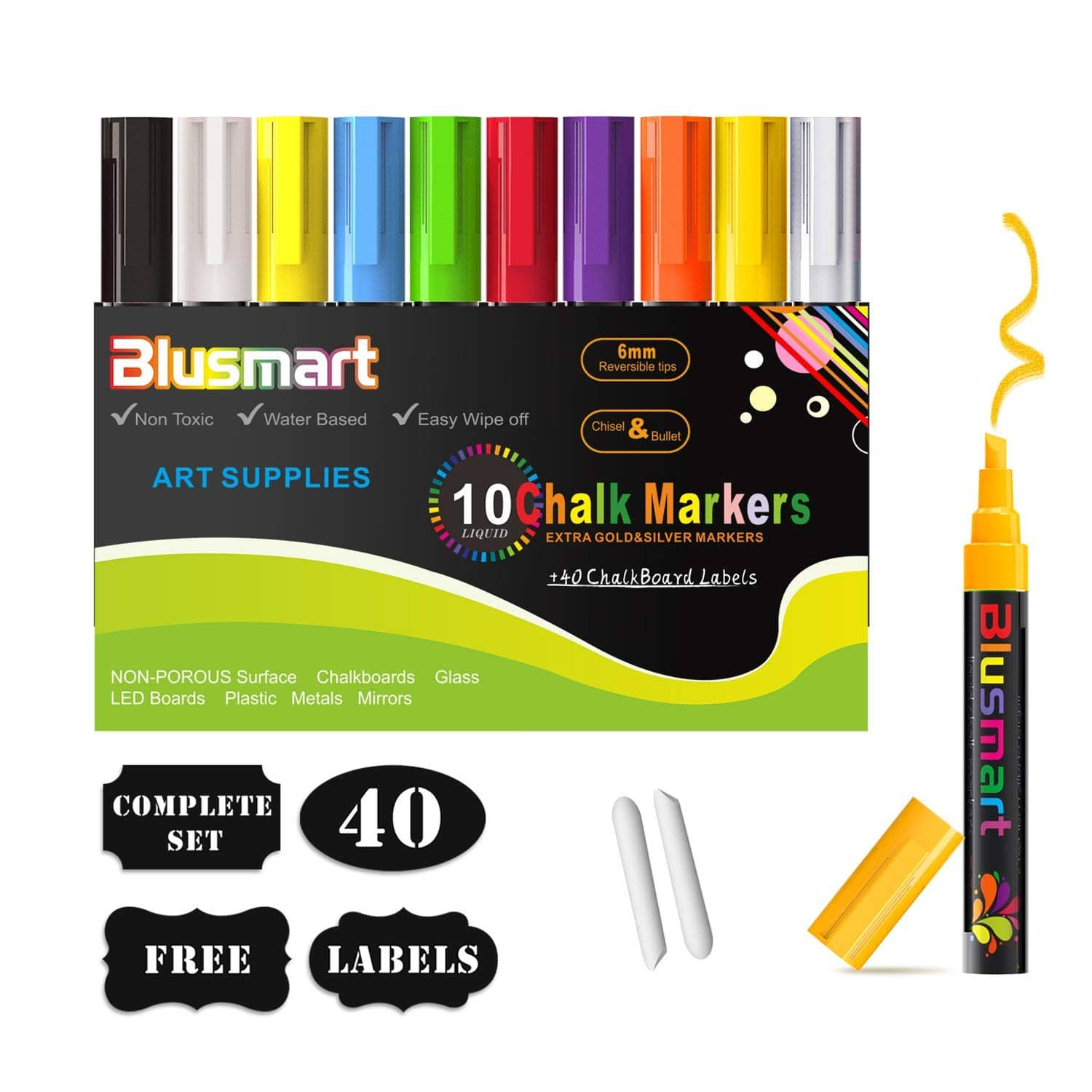 10 pack Reversible Tip Chalk Markers + 40 Labels $6.95 @ Amazon