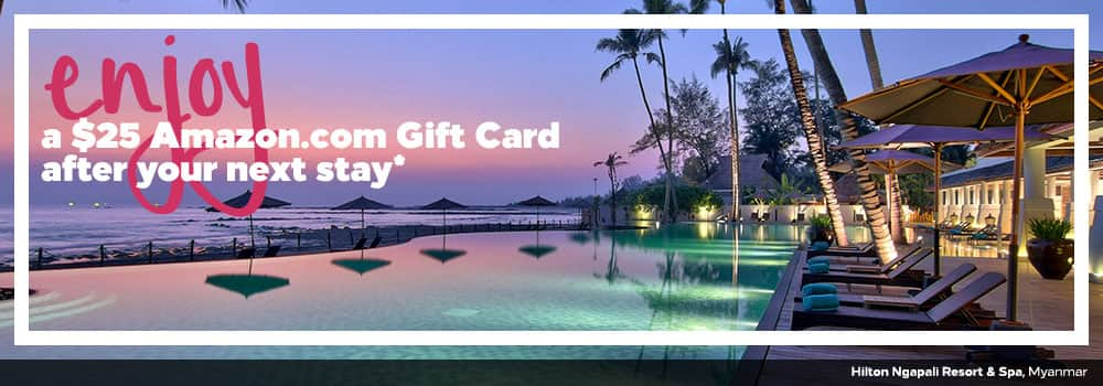 Free $25 Amazon.com gift card after your next stay at Hilton...YMMV