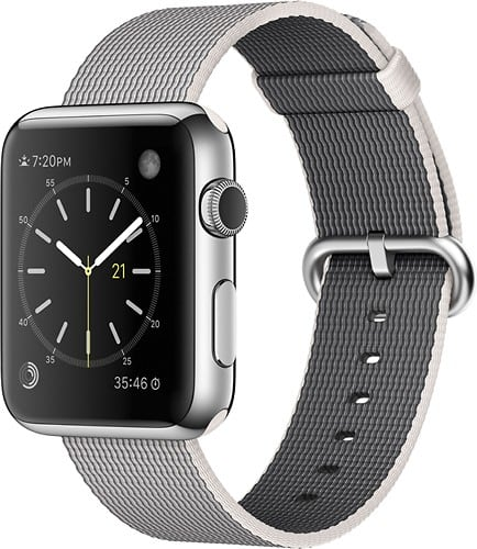 Apple Watch 42mm Stainless Steel Case - Pearl Woven Nylon Band - $299 + Free S/H @ Best Buy
