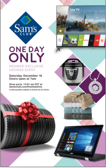 Samsclub One day only savings event on Dec 16th