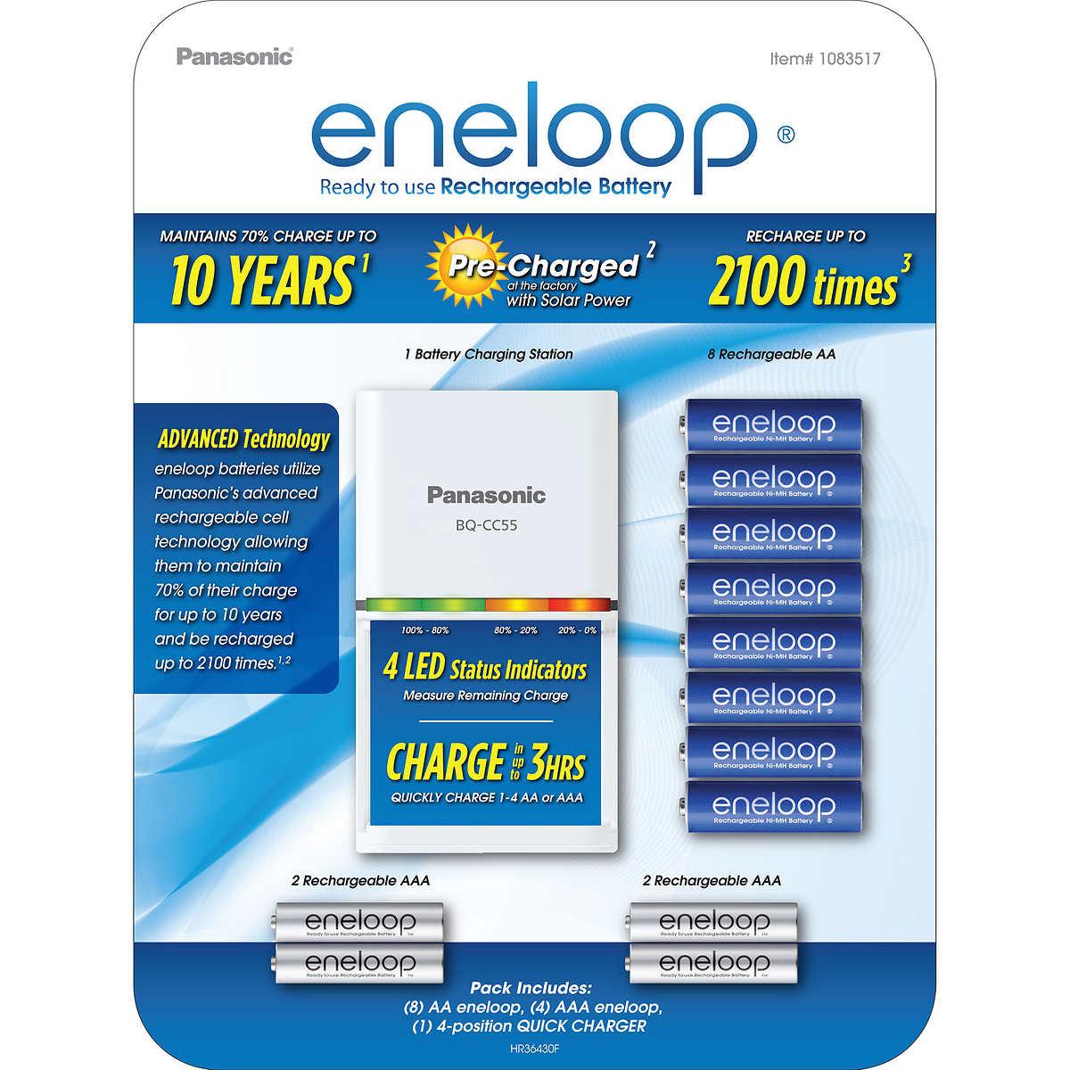 Costco Members: Panasonic Eneloop Rechargeable Battery Kit / 8 AA + 4 AAA + Quick Charger $19.99