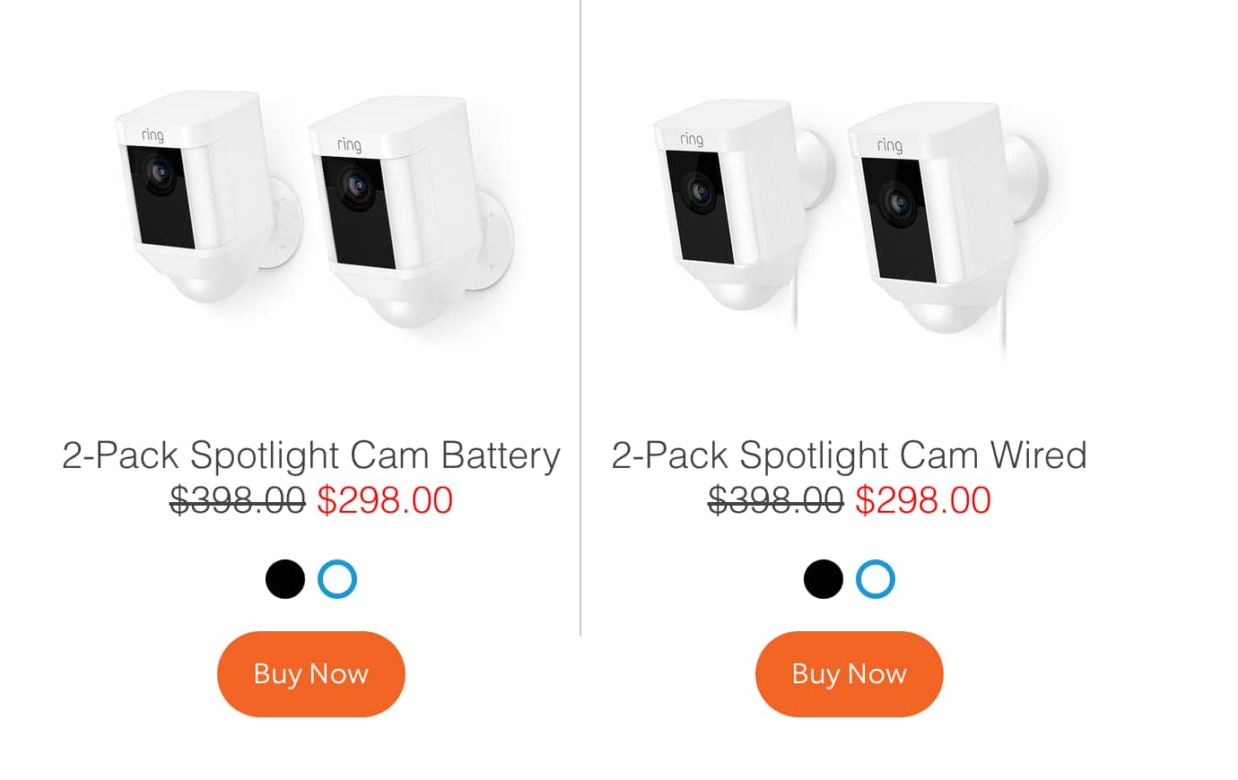 2 Pack Ring Spotlight Cam Wired (or Battery) Bundle $298 plus tax
