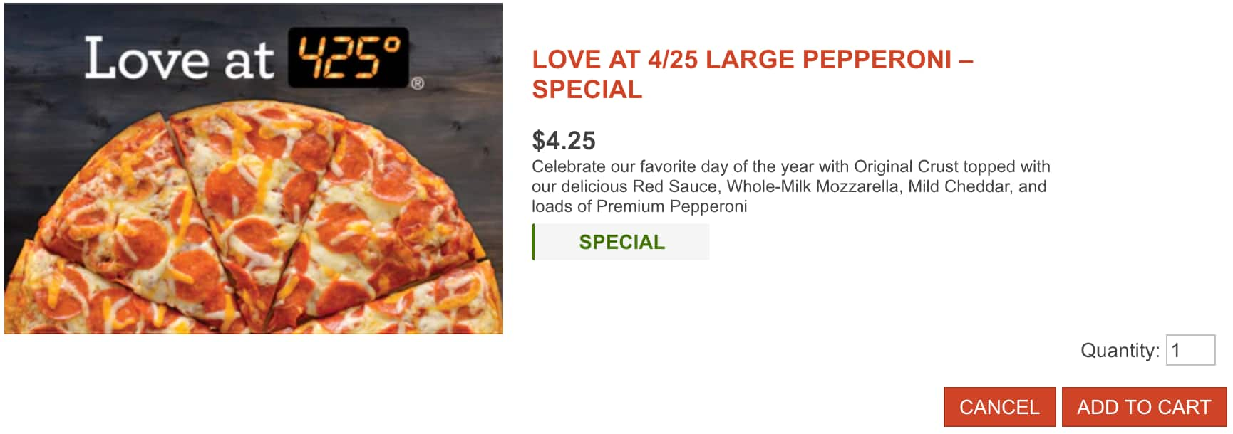 Papa Murphy's Love At 4/25 LARGE Pepperoni $4.25