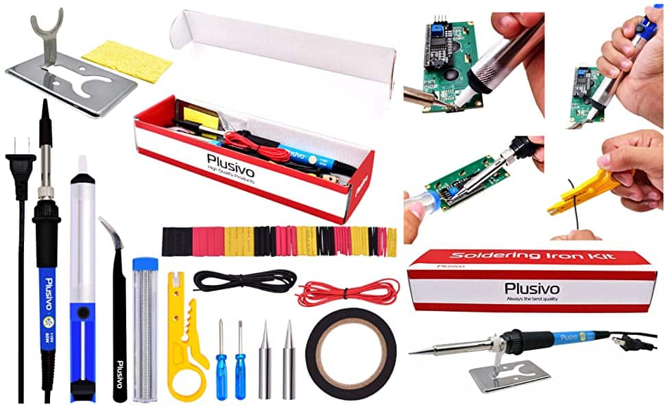 Soldering Iron Kit Electronics: Soldering Iron 60W, Solder Wire, Wire Cutter, Desoldering Pump, Tweezers, Soldering Iron Tips, Mini Stand, Screwdrivers & Heat Shrink Tub $10.99