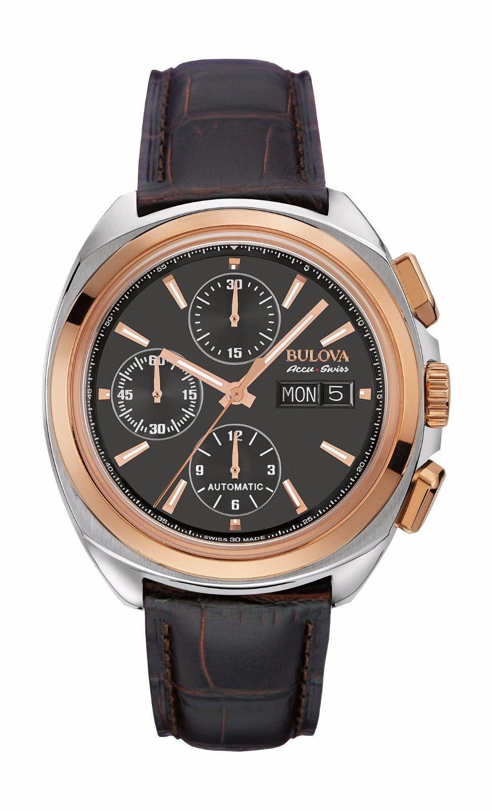 Bulova Accutron Men's 65B167 Accu Swiss Chronograph Black Dial Watch $265