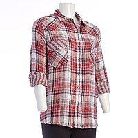 Oversized Plaid Boyfriend Shirt - Jr. $  4.99 + ship @burlingtoncoatfactory.com