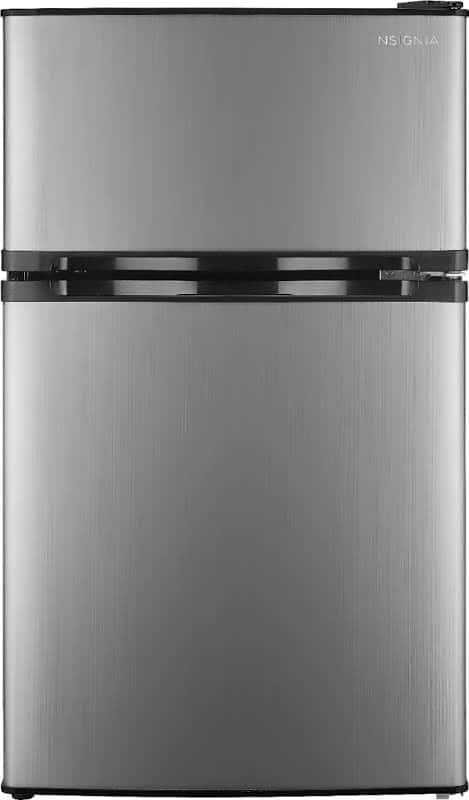 """Insignia Top Freezer Refrigerator - 19.1"""" - 3 cu ft - Stainless Steel $113.34 with code AUGSAVE19"""