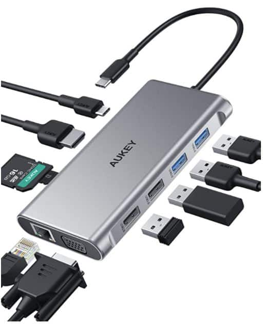 AUKEY USB C Hub 10-in-1 Type C Adapter with Ethernet $33.99