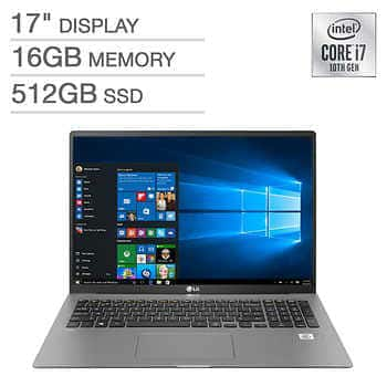 LG Gram 17 in. Laptop, 10th Gen Intel Core i7, 16GB RAM, 512GB SSD, $1099.99 starts October 28th