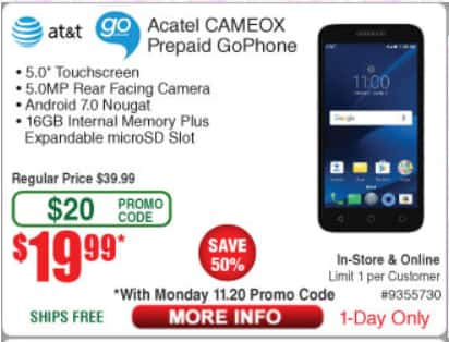 [Frys Instore] Alcatel CAMEOX 4G LTE with 16GB $20 AC today: matches bestbuy BF sale!