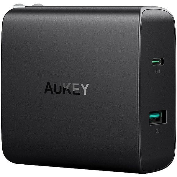 AUKEY USB C Charger with 46W USB-C Power Delivery (PD) 3.0 & 5V/2.1A Ports USB Wall Charger - $29.99 w/free Prime shipping