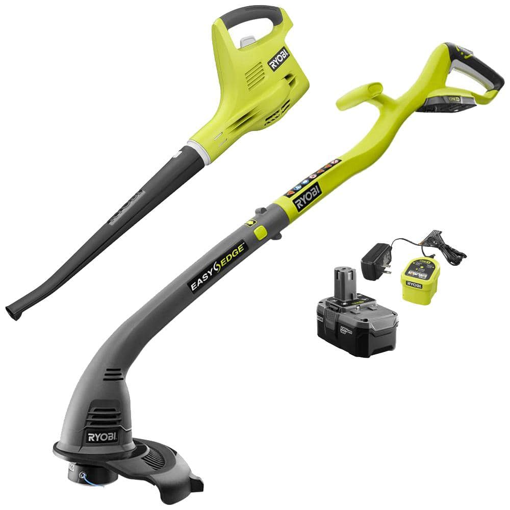 Home Depot ONE+ 18-Volt Cordless String Trimmer/Edger and Blower/Sweeper Combo Kit (2-Tool) - 2.6 Ah Battery and Charger Included $79