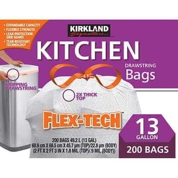 Kirkland Signature Flex-Tech 13-Gallon Kitchen Trash Bag, 200-count - $13.69