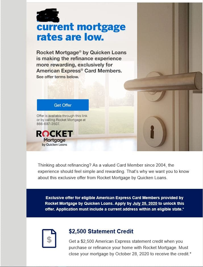 Amex $2,500 Statement Credit with Rocket Mortgage New Loan or ReFi