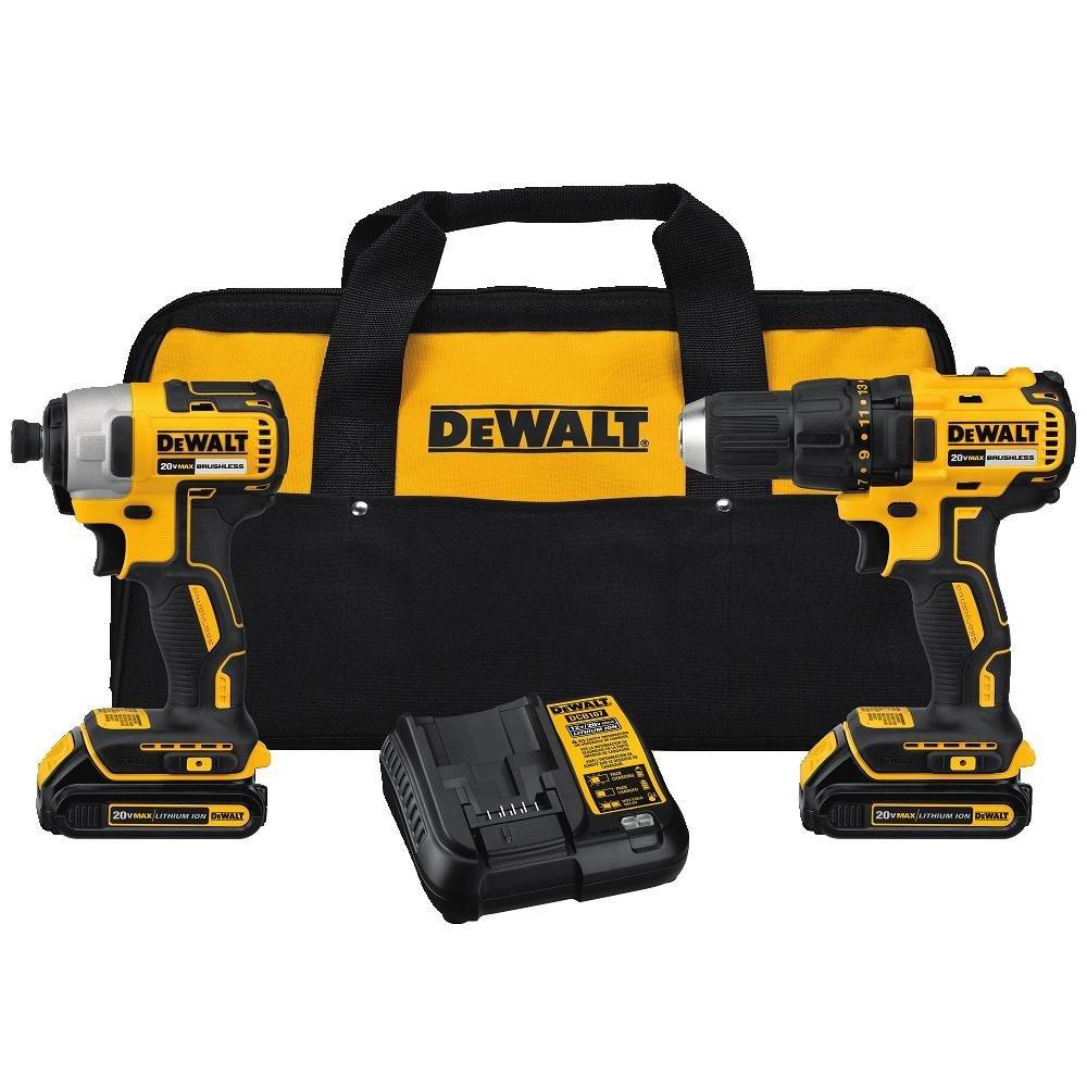 DEWALT DCK277C2 20V MAX Compact Brushless Drill and Impact Combo Kit $179 Amazon