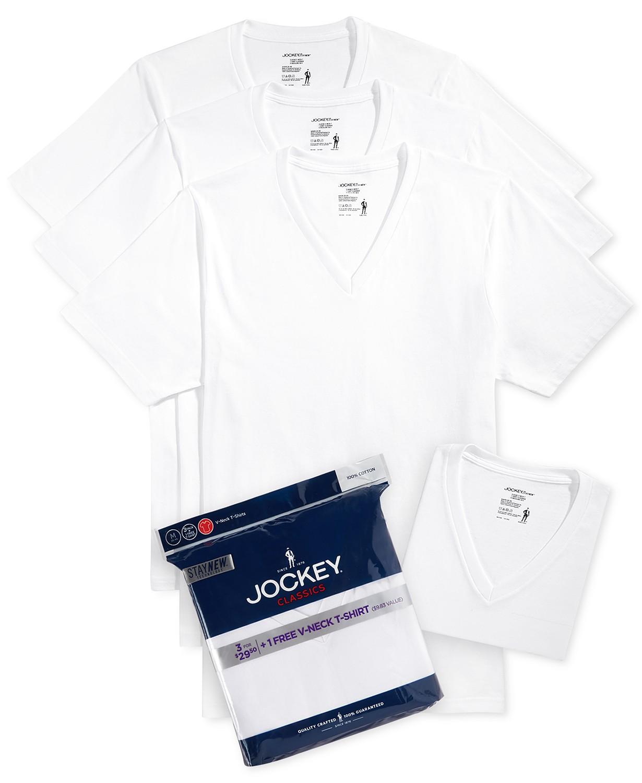17176cec7feb Jockey Men s Tagless 3-Pack V-Neck T-Shirts + 1 Bonus Shirt