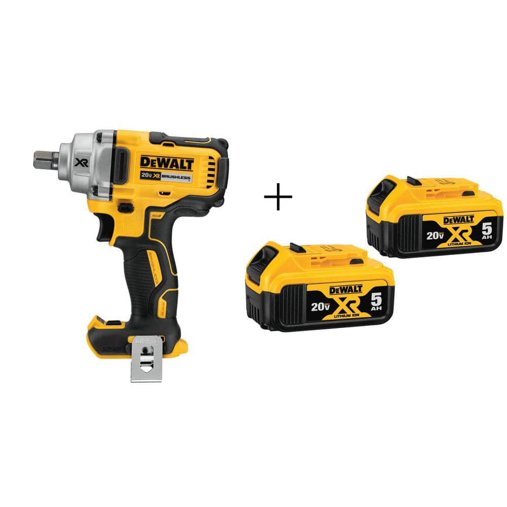 """Dewalt 20V XR Cordless 1/2"""" Impact Wrench DCF894 with TWO 5.0 ah batteries DCB205 FS $199"""