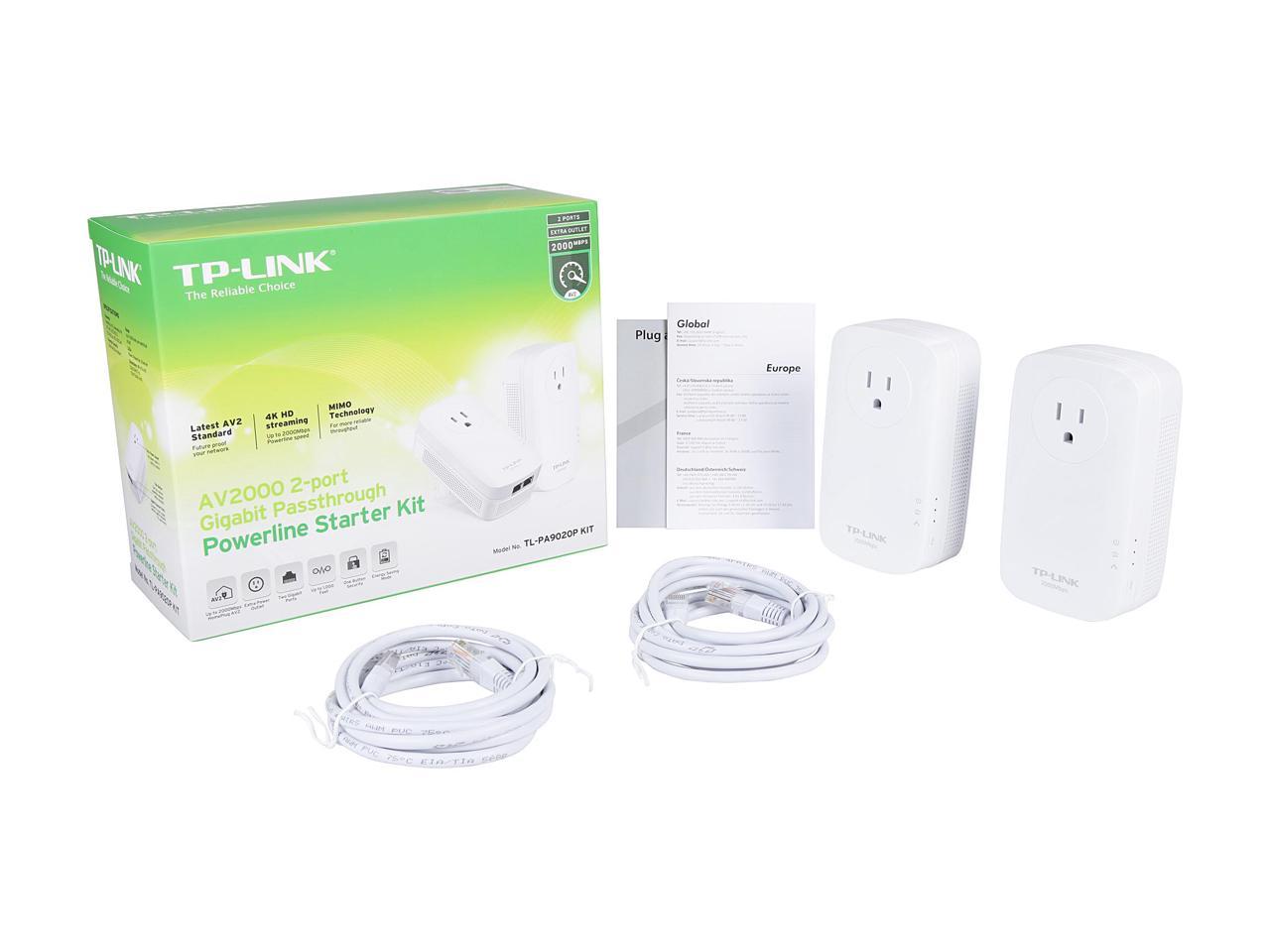 TP-LINK TL-PA9020P, AV2000 2-port Gigabit Passthrough Powerline Adapter Kit, $52.18