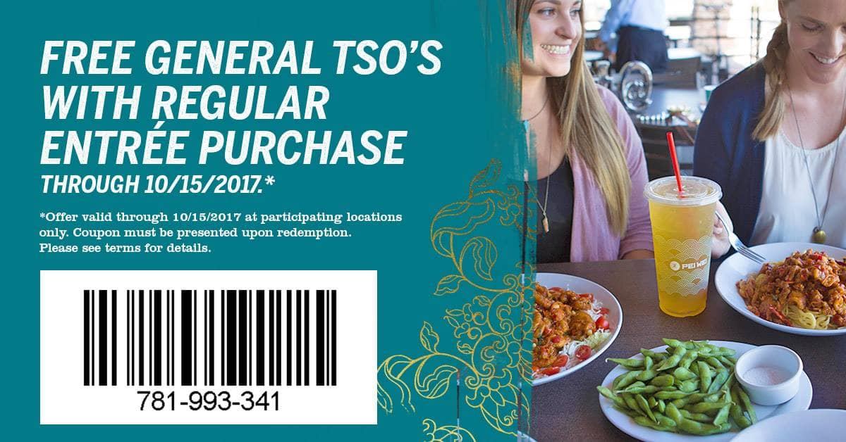 Free General Tso's Rice Bowl with Regular Entree Purchase @ Pei Wei
