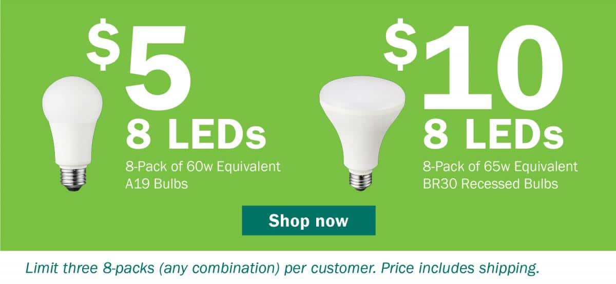 8 pack LED lightbulbs $5 - WI Residents Only
