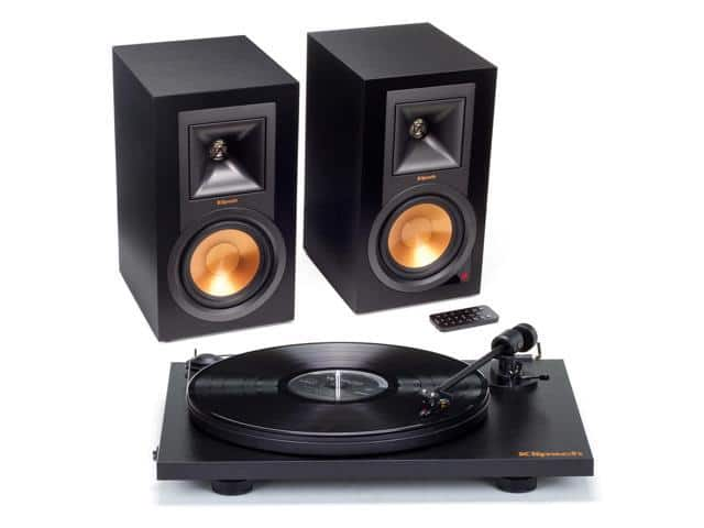Klipsch R-15PM Powered Monitor Speakers and Pro-Ject Primary Turntable Package (Black) $399.99