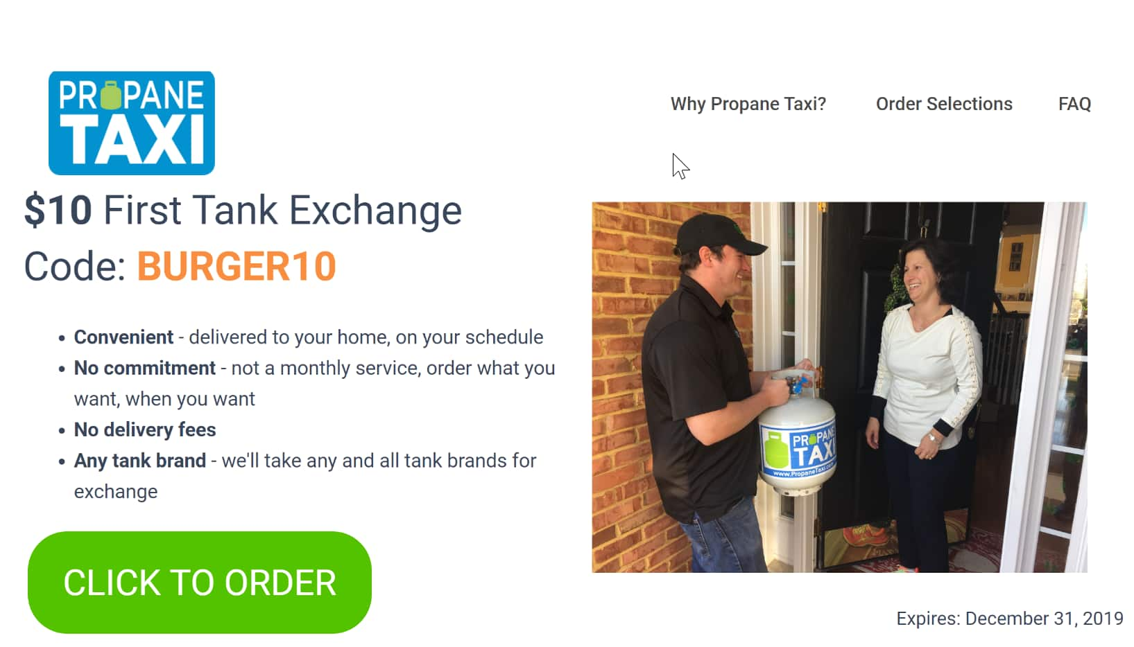 Propane tank exchange Delivery! - Propane Taxi $10