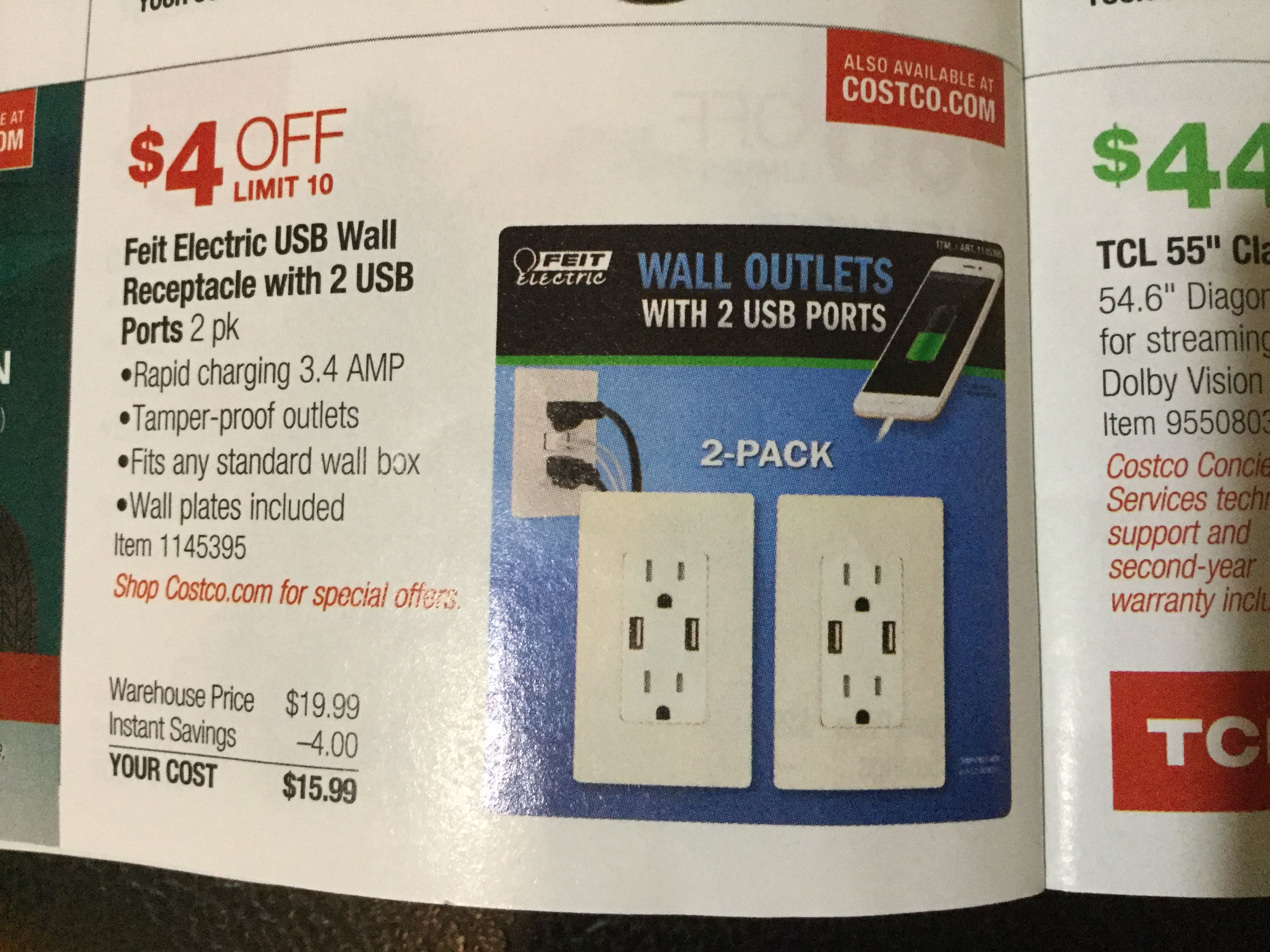 Felt 2USB wall outlet $15.99