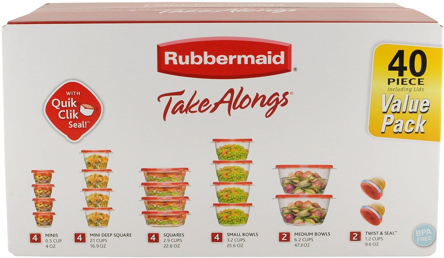 Rubbermaid TakeAlongs Assorted Food Storage Container, 40 Piece Set - $7.55