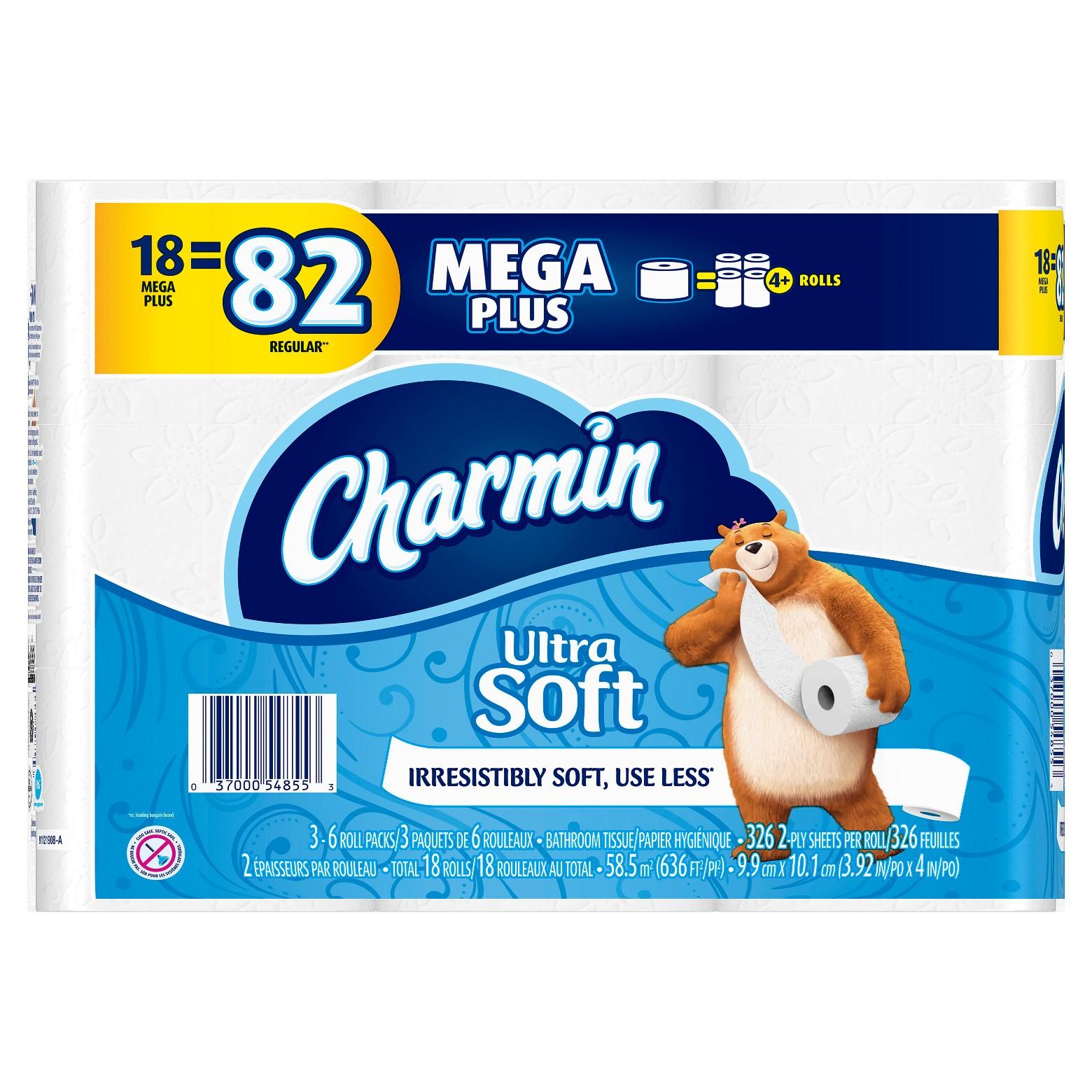 36 ct Charmin Ultra Soft Mega Plus Rolls + $5 giftcard  + FS $36.98