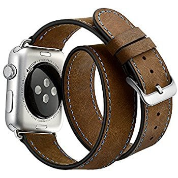 Apple Watch Band Double Wrap Vintage Crazy Horse Genuine Leather Replacement band Stainless Metal Clasp for Apple Watch Series 1 & 2 $7.99