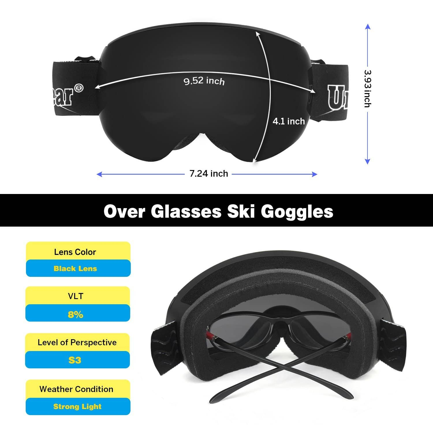 45% OFF for Unigear Anti-fog OTG Ski Goggles with Magnetic Interchangeable Lens and Protective Case – Black Lens & Blue Lens $23.64