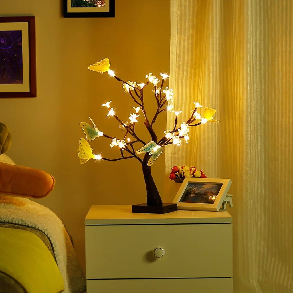 36 LED |1.47 ft Finether Table Lamp Adjustable Butterfly and Flower Desk Lamp for $15.99 AC+FS With Prime