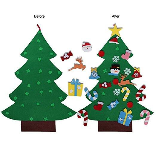 Henscoqi Felt Christmas Tree with 26 pieces Detachable Ornaments for Kids Education Hanging Decoration Less Than $7 @Amazon $6.8