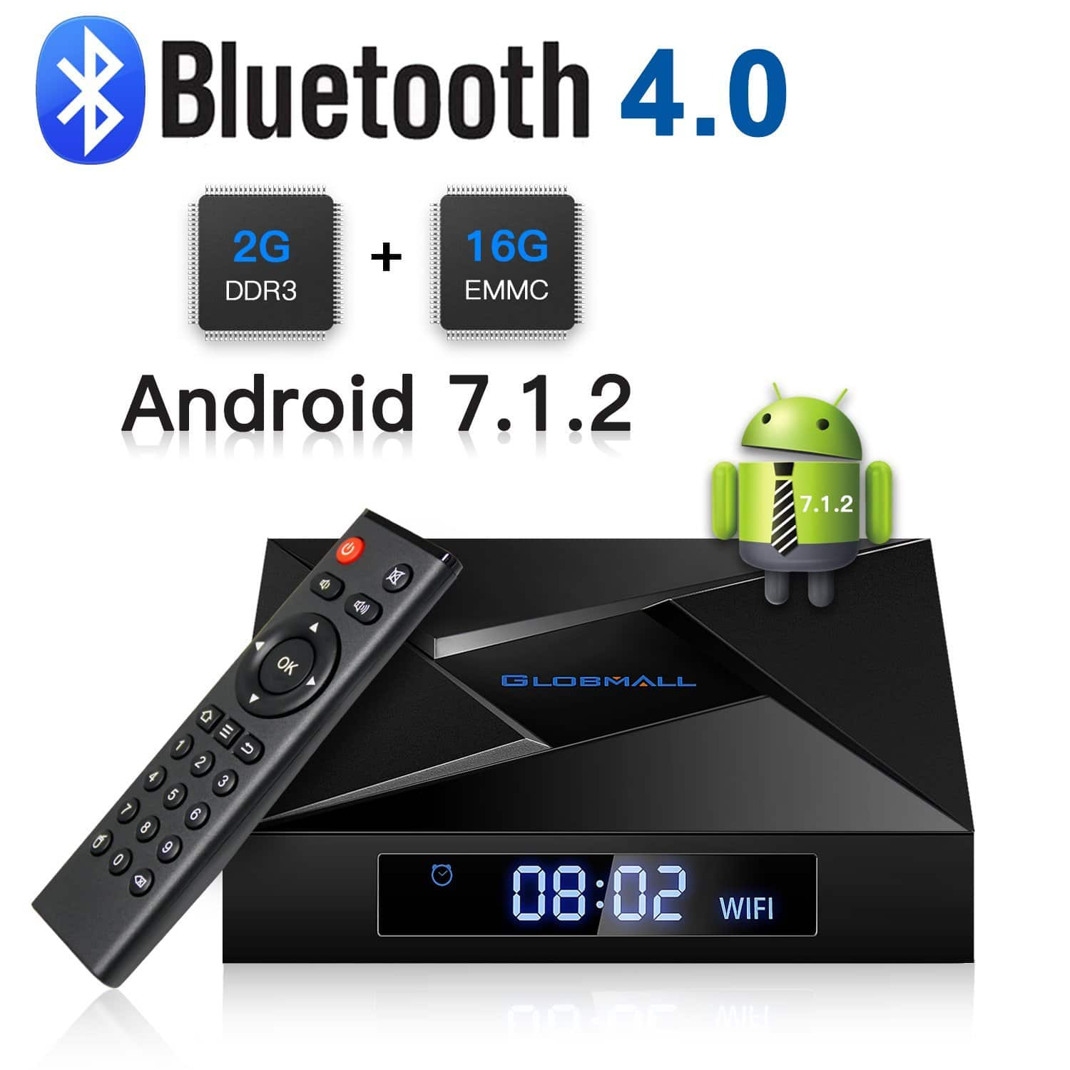Quad Core 64 Bits 4K Android 7.1 TV Box 2GB RAM+16GB ROM with Bluetooth 4.0 and WiFi (2018 Newest Version) @Prime F/S $44.84